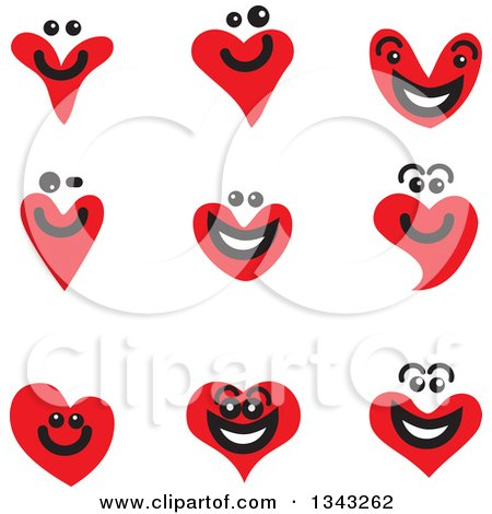 Clipart of Red Heart Face App Icon Design Elements - Royalty Free Vector Illustration by ColorMagic