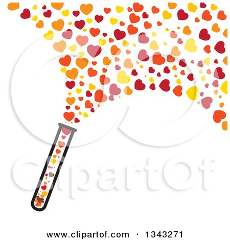 Clipart of a Test Tube with Hearts Flying out - Royalty Free Vector Illustration by ColorMagic