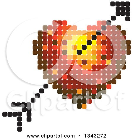 Clipart of a Heart and Cupids Arrow Made of Dots - Royalty Free Vector Illustration by ColorMagic