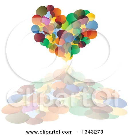 Clipart of a Heart Made of Colorful Speech Balloons and a Reflection - Royalty Free Vector Illustration by ColorMagic