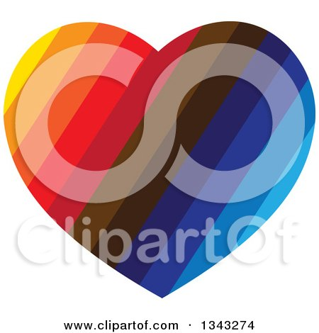 Clipart of a Colorful Striped Heart - Royalty Free Vector Illustration by ColorMagic