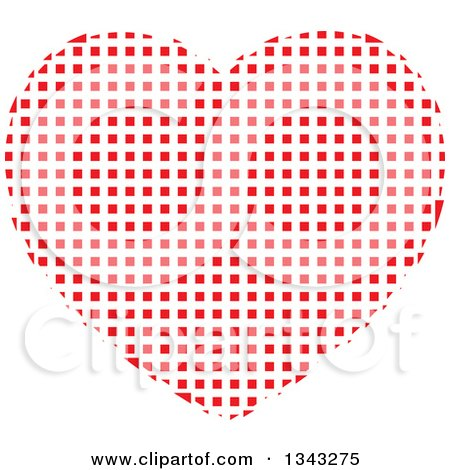 Clipart of a Red Heart Made of Tiles - Royalty Free Vector Illustration by ColorMagic