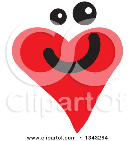 Clipart of a Red Heart Character Smiling 2 - Royalty Free Vector Illustration by ColorMagic