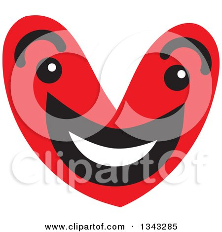 Clipart of a Red Heart Character Smiling 3 - Royalty Free Vector Illustration by ColorMagic