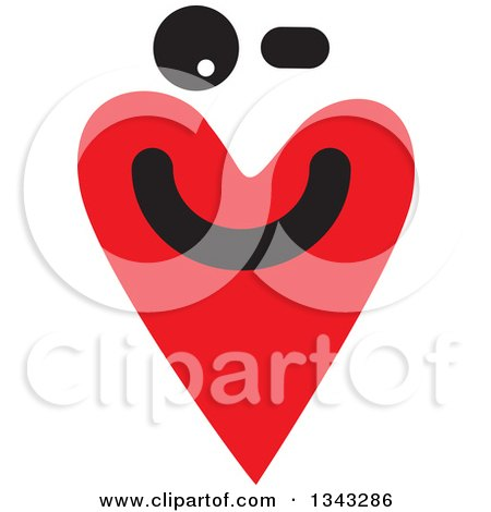 Clipart of a Red Heart Character Smiling 4 - Royalty Free Vector Illustration by ColorMagic