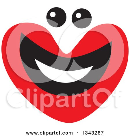 Clipart of a Red Heart Character Smiling 5 - Royalty Free Vector Illustration by ColorMagic