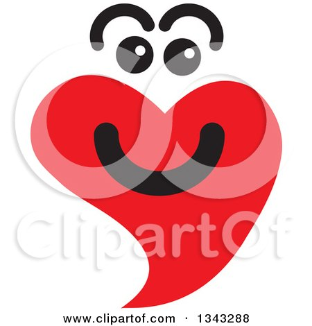Clipart of a Red Heart Character Smiling 6 - Royalty Free Vector Illustration by ColorMagic