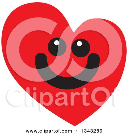 Clipart of a Red Heart Character Smiling 7 - Royalty Free Vector Illustration by ColorMagic