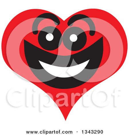 Clipart of a Red Heart Character Smiling 8 - Royalty Free Vector Illustration by ColorMagic