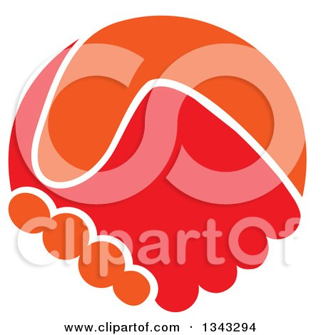 Clipart of Orange and Red Hands Shaking - Royalty Free Vector Illustration by ColorMagic
