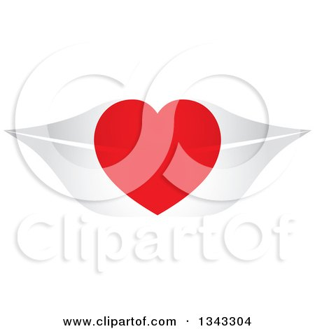 Clipart of a Red Heart over Gray Lips - Royalty Free Vector Illustration by ColorMagic