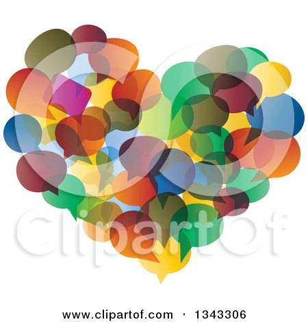 Clipart of a Heart Made of Colorful Speech Balloons - Royalty Free Vector Illustration by ColorMagic