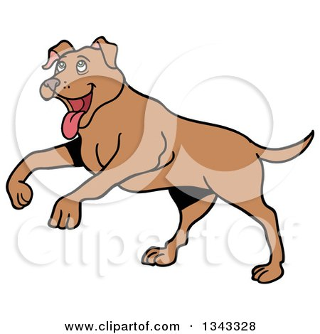 Clipart of a Cartoon Happy Brown Pitbull Dog Playing - Royalty Free Vector Illustration by LaffToon