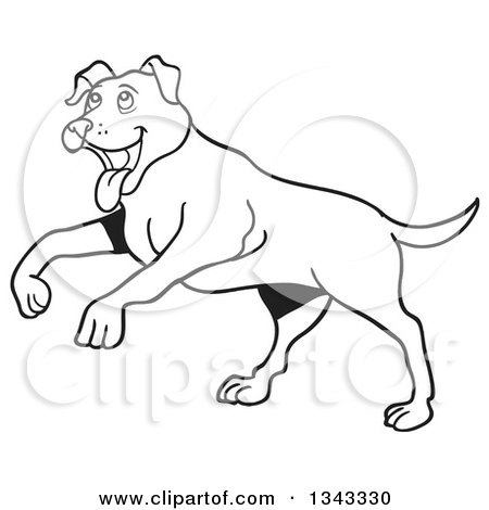 Lineart Clipart of a Cartoon Black and White Happy Pitbull Dog Playing - Royalty Free Outline Vector Illustration by LaffToon