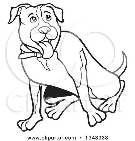 Lineart Clipart of a Cartoon Black and White Pitbull Dog Sitting and Panting - Royalty Free Outline Vector Illustration by LaffToon