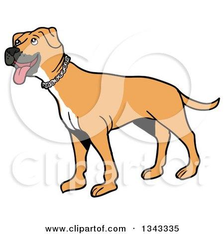 Cartoon Tan Pitbull Dog Standing and Panting, Facing Left Posters, Art Prints