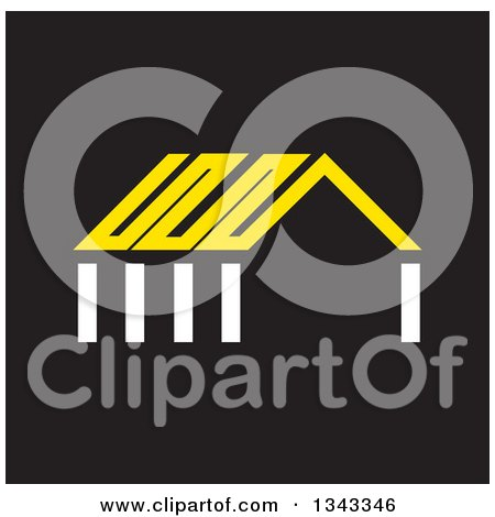Clipart of a White and Yellow House on Black - Royalty Free Vector Illustration by ColorMagic