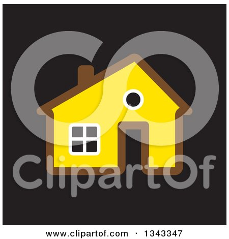 Clipart of a Brown and Yellow House over Black - Royalty Free Vector Illustration by ColorMagic