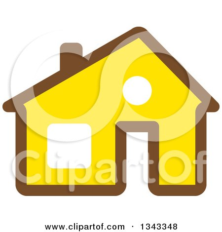 Clipart of a Brown and Yellow House - Royalty Free Vector Illustration by ColorMagic