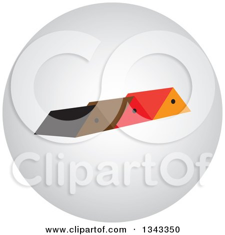 Clipart of a Shaded Round App Icon Button Design Element with Houses 3 - Royalty Free Vector Illustration by ColorMagic