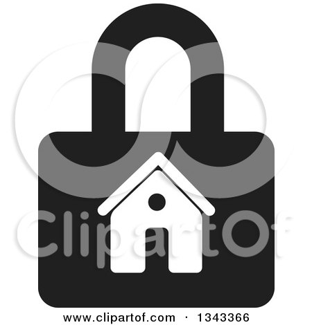 Clipart of a Black and White House Padlock - Royalty Free Vector Illustration by ColorMagic