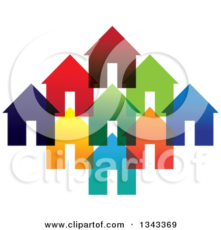 Clipart of a Neighborhood of Colorful Houses 4 - Royalty Free Vector Illustration by ColorMagic