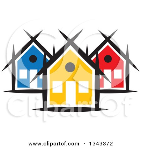 clipart of a neighborhood of colorful houses 5 royalty free vector rh clipartof com clipart neighborhood map neighborhood clipart black and white