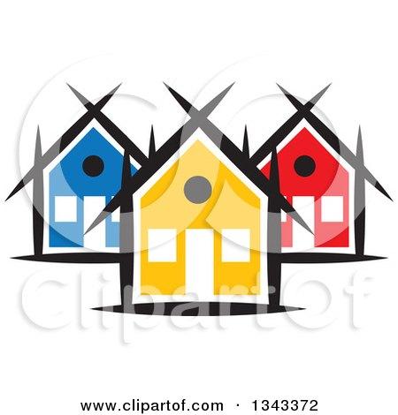 clipart of a neighborhood of colorful houses 5 royalty free vector rh clipartof com neighborhood clipart png neighborhood clipart black and white