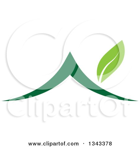 Clipart of a Green House with a Leaf Chimney - Royalty Free Vector Illustration by ColorMagic