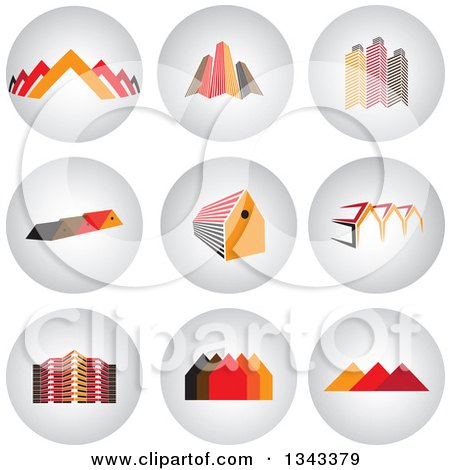 Clipart of Round Shaded House and Skyscraper App Icon Button Design Elements - Royalty Free Vector Illustration by ColorMagic