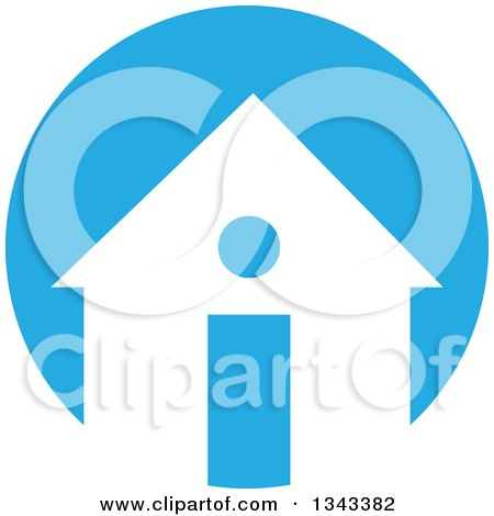 Clipart of a White Silhouetted I Information House over a Blue Circle - Royalty Free Vector Illustration by ColorMagic