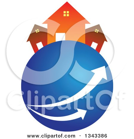 Clipart of Neighboring Homes on a Blue Planet with Arrows - Royalty Free Vector Illustration by ColorMagic