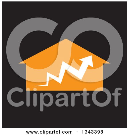 Clipart of a White Arrow over an Orange House, on Black - Royalty Free Vector Illustration by ColorMagic