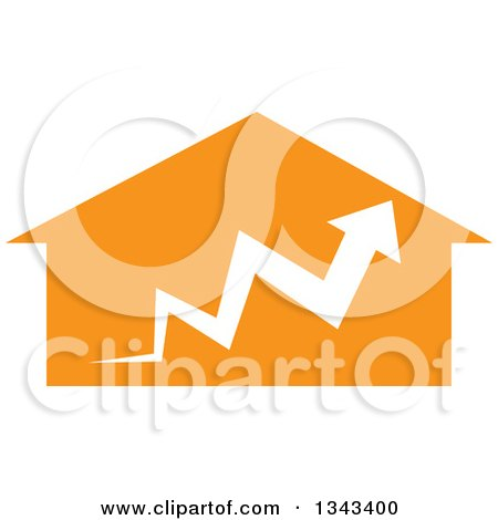 Clipart of a White Arrow over an Orange House - Royalty Free Vector Illustration by ColorMagic