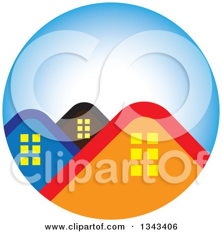 Clipart of House Roof Tops in a Blue Circle - Royalty Free Vector Illustration by ColorMagic