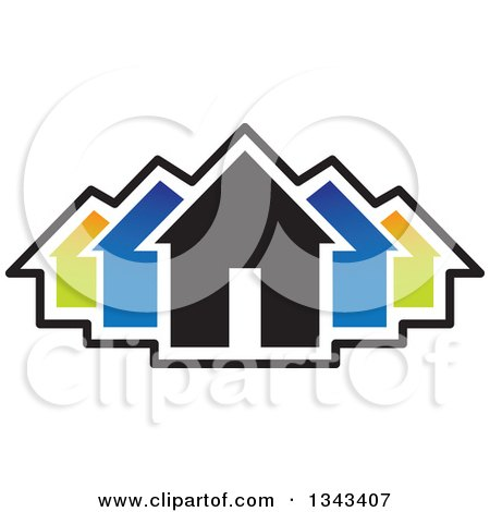 Clipart of a Neighborhood of Colorful Houses - Royalty Free Vector Illustration by ColorMagic