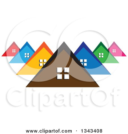 Clipart of a Neighborhood of Colorful Houses 2 - Royalty Free Vector Illustration by ColorMagic