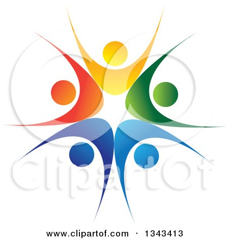 Clipart Of A Teamwork Unity Circle Of Colorful People Cheering Or Dancing 22 Royalty Free Vector Illustration