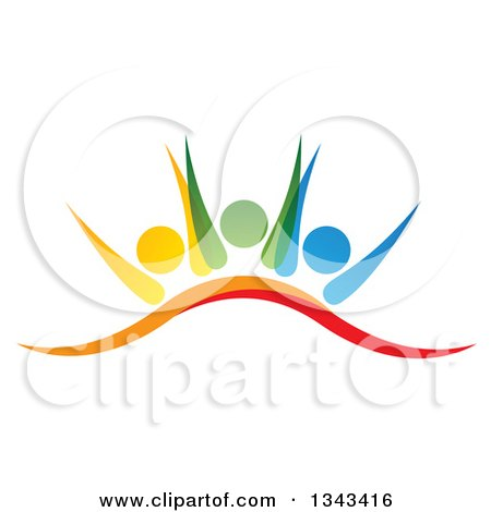 Clipart Of A Teamwork Unity Group Of Colorful People Cheering 3 Royalty Free Vector Illustration