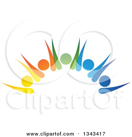 Clipart Of A Teamwork Unity Group Of Colorful People Cheering 4 Royalty Free Vector Illustration