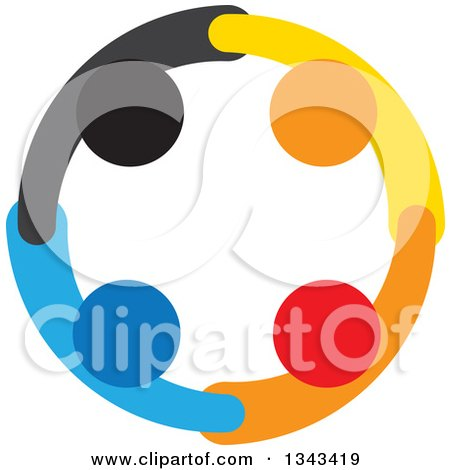 Clipart of a Teamwork Unity Circle of Colorful People 53 - Royalty Free Vector Illustration by ColorMagic