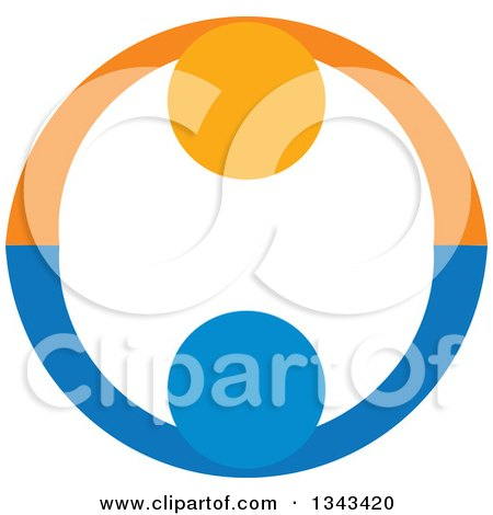 Clipart of a Blue and Orange Couple Holding Hands and Forming a Circle - Royalty Free Vector Illustration by ColorMagic