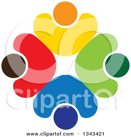 Clipart Of A Teamwork Unity Circle Of Colorful People Cheering Or Dancing 38 Royalty Free Vector Illustration