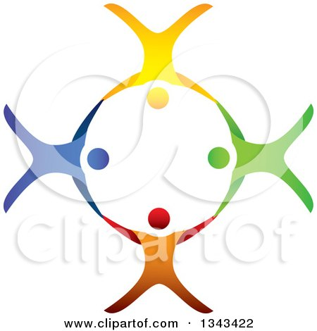 Clipart Of A Teamwork Unity Circle Of Colorful People Cheering Dancing Or Free Falling And Holding Hands While Sky Diving 2 Royalty Free Vector Illustration