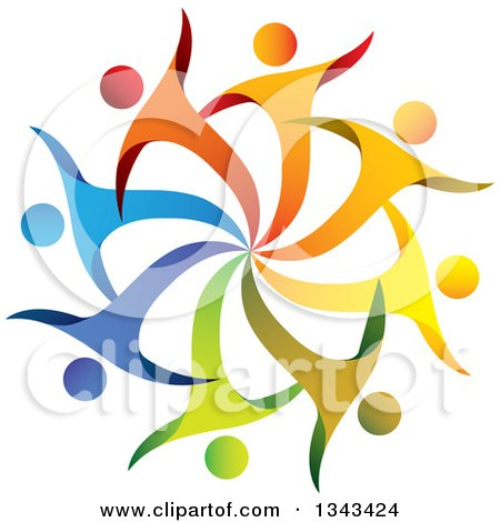 Clipart of a Teamwork Unity Circle of Colorful People Cheering or Dancing 44 - Royalty Free Vector Illustration by ColorMagic