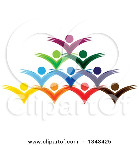 Clipart of a Teamwork Unity Group of Colorful People Cheering 6 - Royalty Free Vector Illustration by ColorMagic