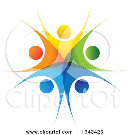 Clipart of a Teamwork Unity Circle of Colorful People Cheering or Dancing 54 - Royalty Free Vector Illustration by ColorMagic