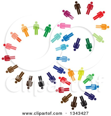 Clipart of Teamwork Unity Gears of Colorful People - Royalty Free Vector Illustration by ColorMagic