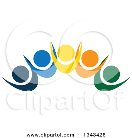 Clipart of a Teamwork Unity Group of Colorful People Cheering 12 - Royalty Free Vector Illustration by ColorMagic