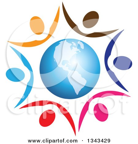 Clipart of a Teamwork Unity Circle of Colorful People Cheering and Holding Hands Around Planet Earth Featuring the Americas - Royalty Free Vector Illustration by ColorMagic